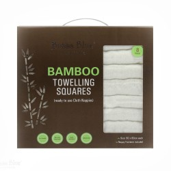 Bubba Blue Bamboo White 8 PK Towelling Nappies
