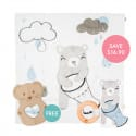 Kippins Billie Story-print Wrap Set (FREE Wooden Teether)