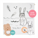 Kippins River Story-print Wrap Set (FREE Wooden Teether)