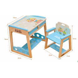 Pororo Wooden Toys Study Table (Blue or Pink)