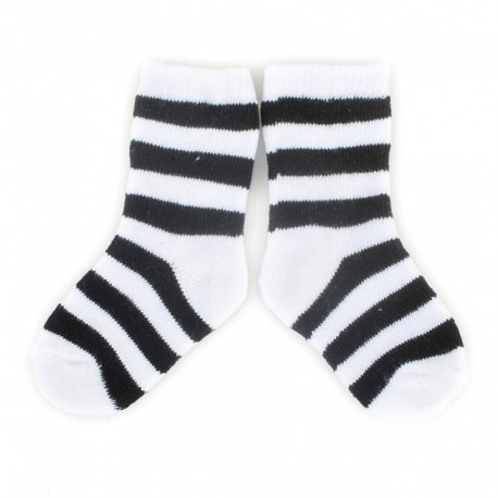 PLUSH® Stay on socks (0-2yrs) - White with Black Stripes