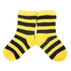 PLUSH Stay on socks (0-2yrs) - Yellow with Black Stripes