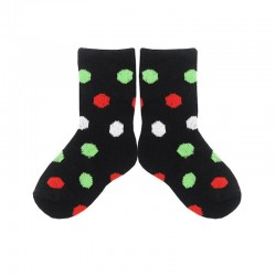 PLUSH Stay on Socks (4-8yrs) - Black with White/Red/Green Dots