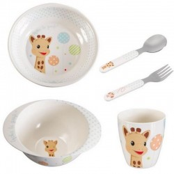 Sophie la girafe : Meal-Time Set (Plate, bowl, cup and cutlery set) - Blue Balloon